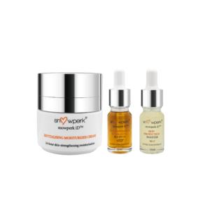 1 snowperk revitalising moisturizer cream, 1 snowperk skin soothing & hydrating booster and 1 snowperk skin protection booster