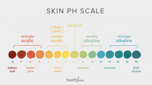 Skin pH scale from acidic to alkaline