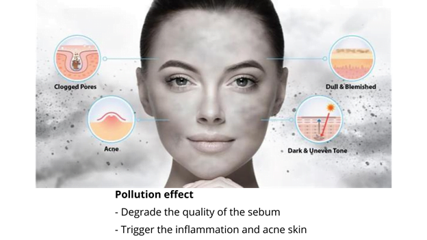 air pollution causing acne, overproduction of sebum